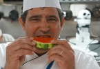 chef richard hanna bites into a sice of watermelon 145x100