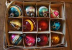 vintage glass ornaments in their original box 145x100