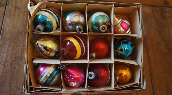 vintage glass ornaments in their original box