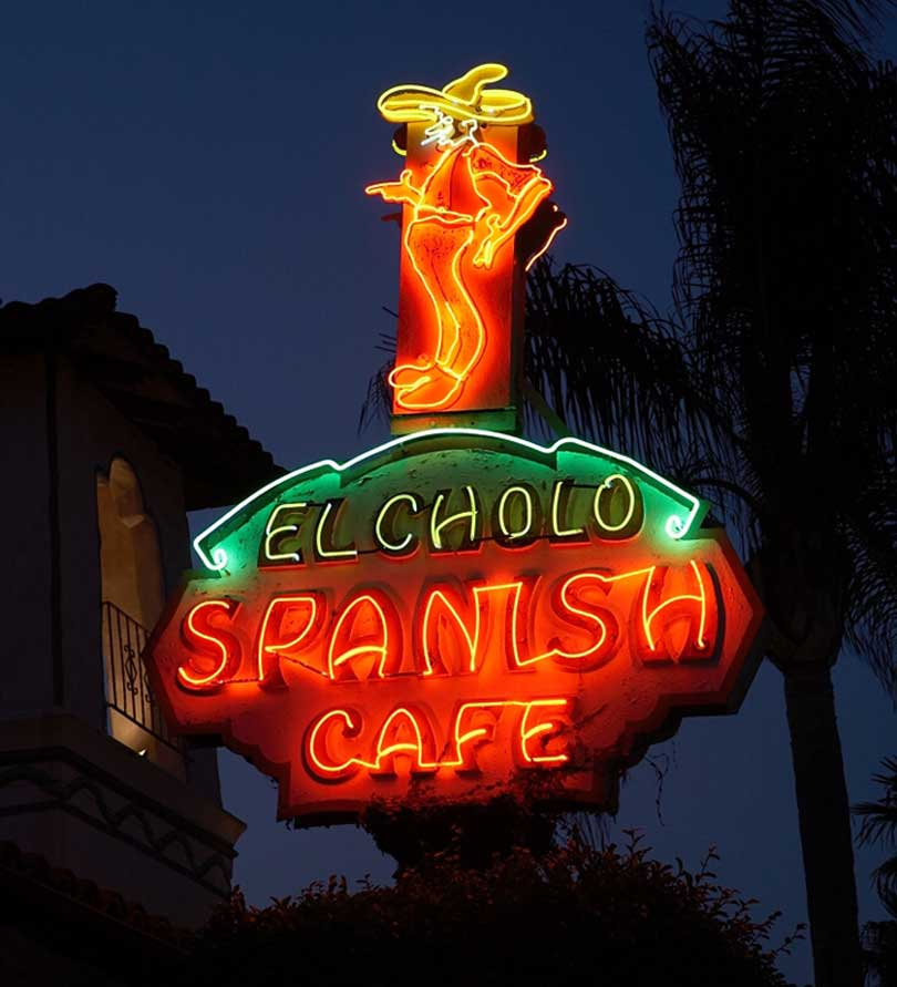 El Cholo Cafe neon sign of man in hat