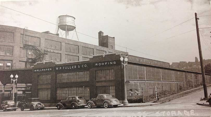 vintage photo of Fuller building that is now Public Storage South Lake Union Seattle