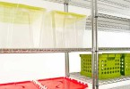 clear plastic bins on large metal shelves 145x100