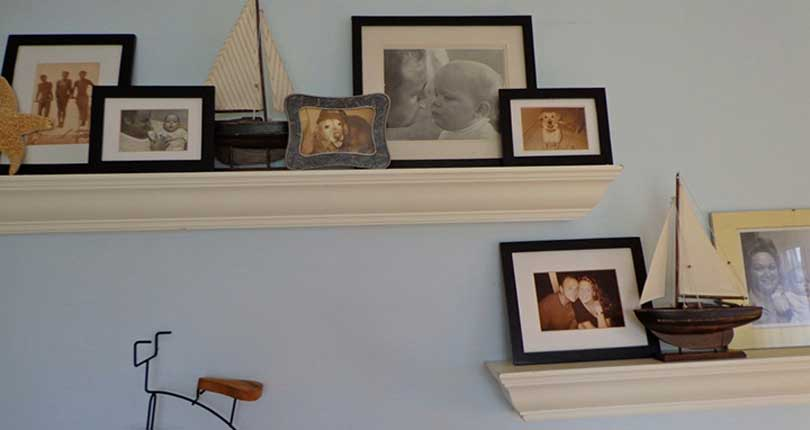 living room photo shelves from Dalehead Designs