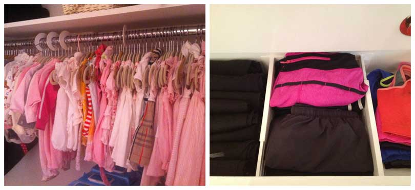 left image of girls pink dresses on closet rack with closet dividers right image of clothes in drawer with drawer dividers