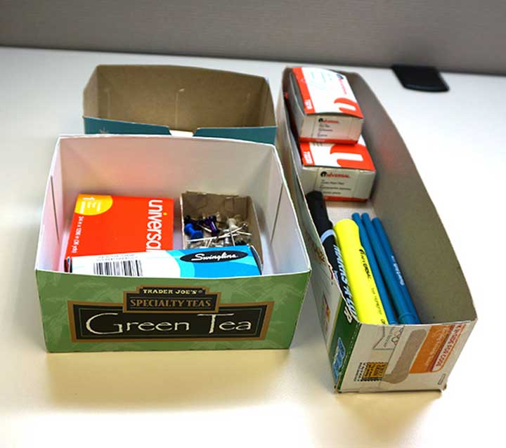 tea boxes repurposed as drawer dividers