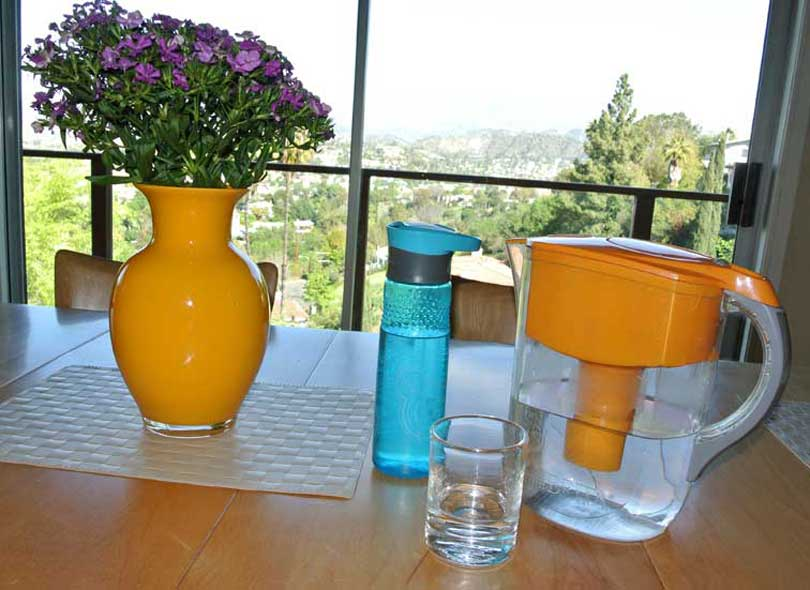water filter pitcher on table with flowers