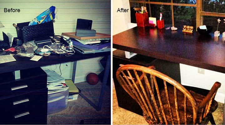 before and after desk declutter project