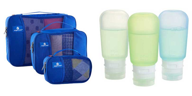 travel organization cubes and liquid tubes