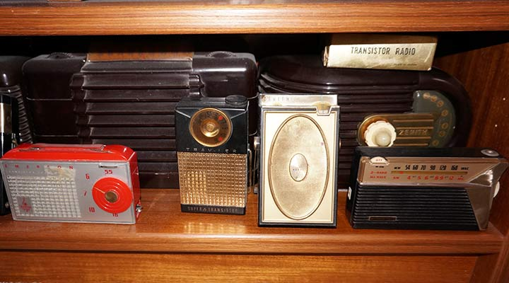vintage radio shelf showing collection