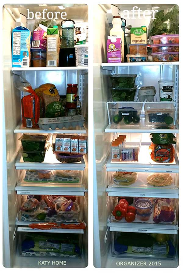 before and after healthy refrigerator stocked with fruit and veggies