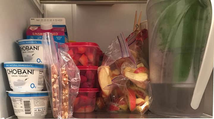 fridge organization example shelf with fruit and yogurt