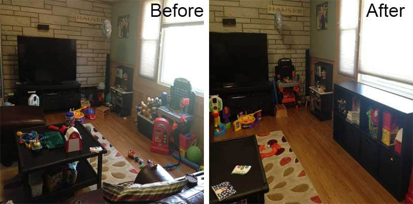 living room toy organization project before and after