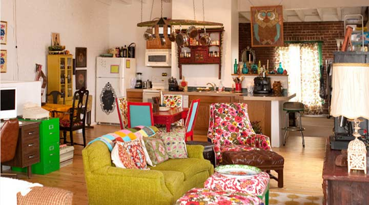 loft open room decorated with a hodge podge of vintage finds