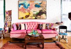 vintage chic living room with a pink couch anchoring pink and purple finds 145x100