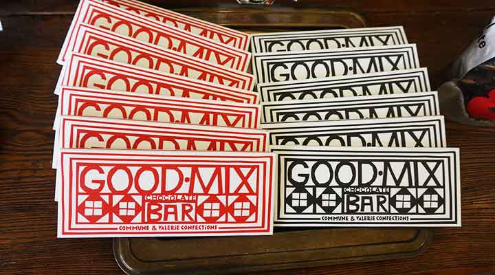 goodmix chocolate bars on a counter