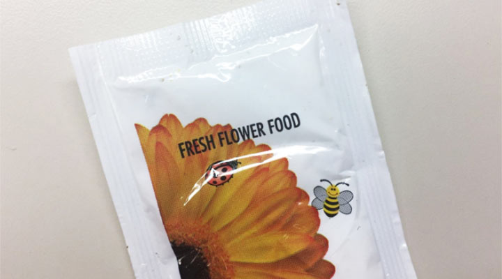 closeup of flower food packet