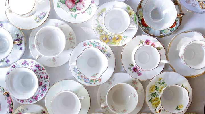 an array of floral tea cups china