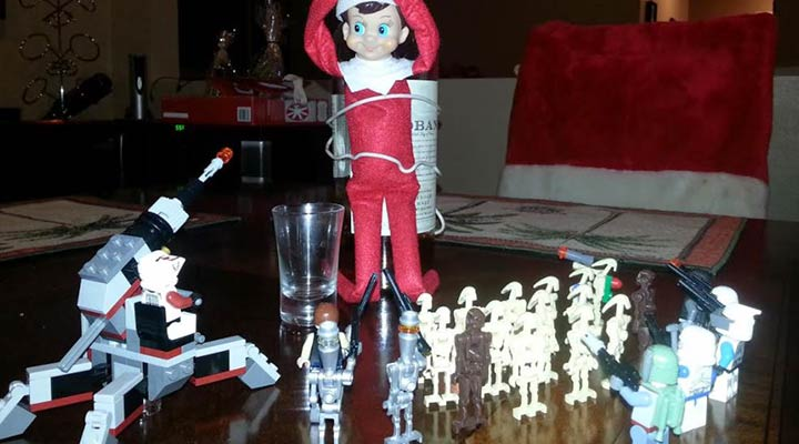 elf on the shelf tied up by star wars lego toys