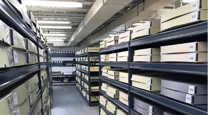 shelves of newseum newspapers stored in boxes