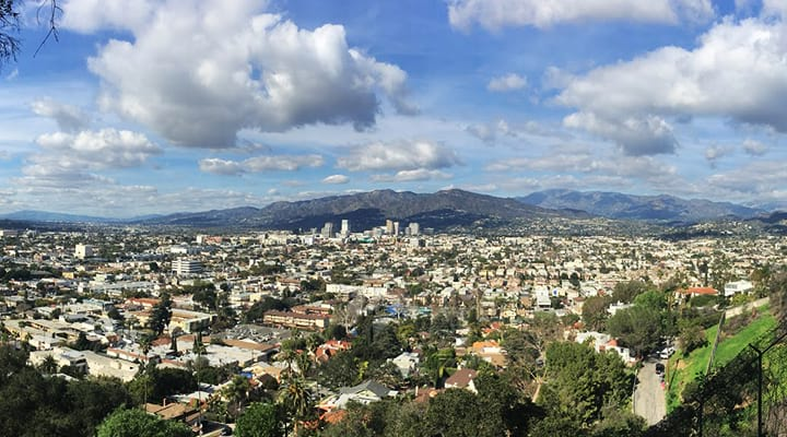 view of los angeles from a hike at griffith park