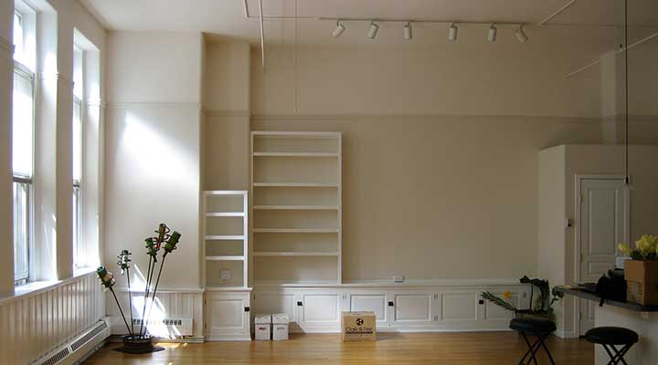 empty denver apartment with builtin shelves and storage