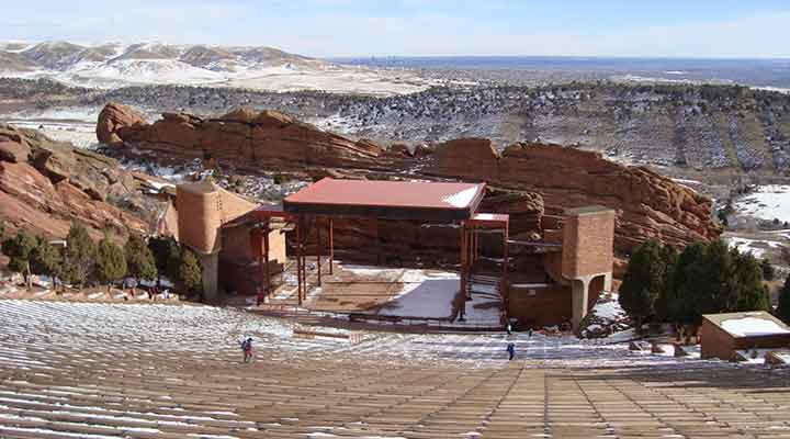 red rocks denver with a dusting of snow