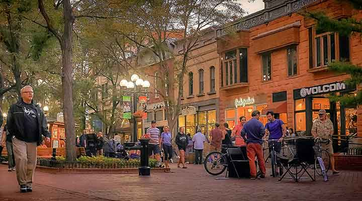 crowded evening in downtown boulder