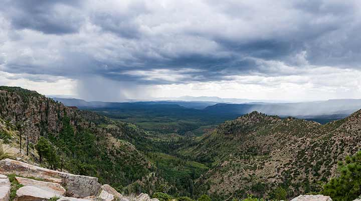 distant view of downpour from colorado mountains