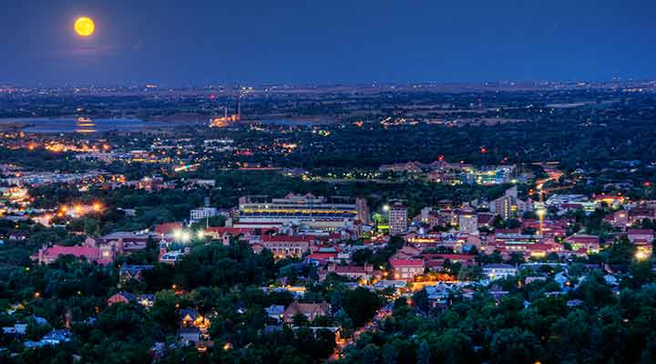 full moon over university of colorado, boulder