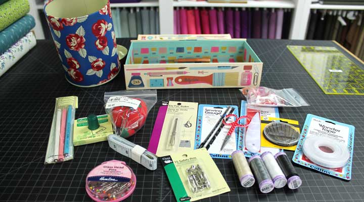 sewing kit items such as scissors