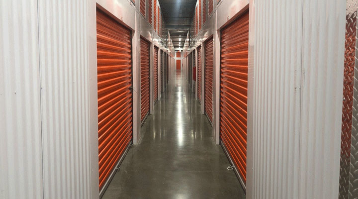 row of Public Storage units in hallway at new downtown Nashville facility