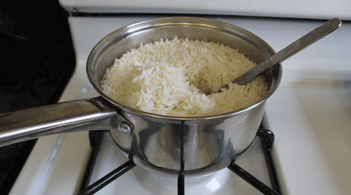 white rice ready on the stove