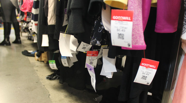 Color tag sale at Goodwill Los Angeles store