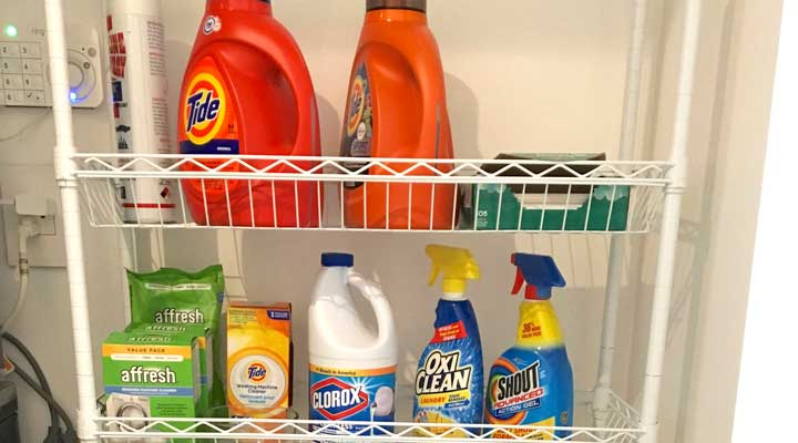 detergents and bleach in laundry room