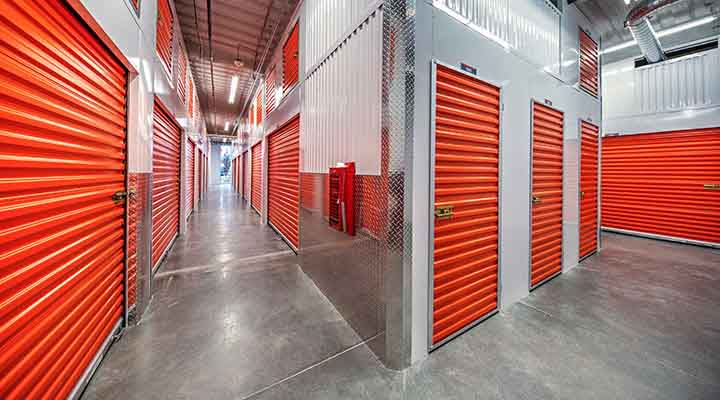 a storage facility hallway with climate controlled storage units