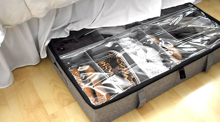 under bed shoe storage organizers with adjustable dividers