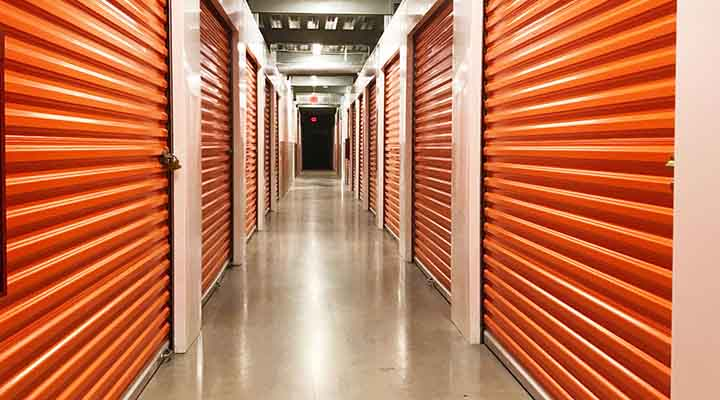rows of Houston climate controlled storage units at Public Storage