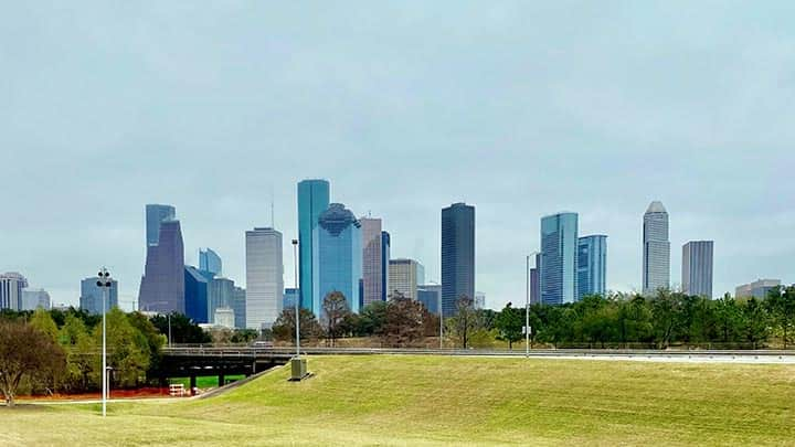 downtown houston skyline from a park