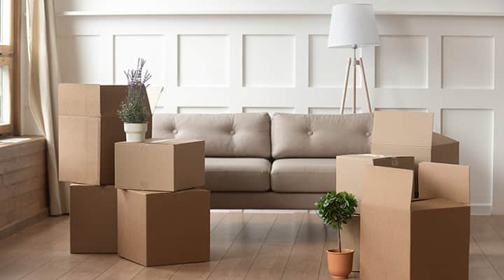 moving boxes in almost empty living room
