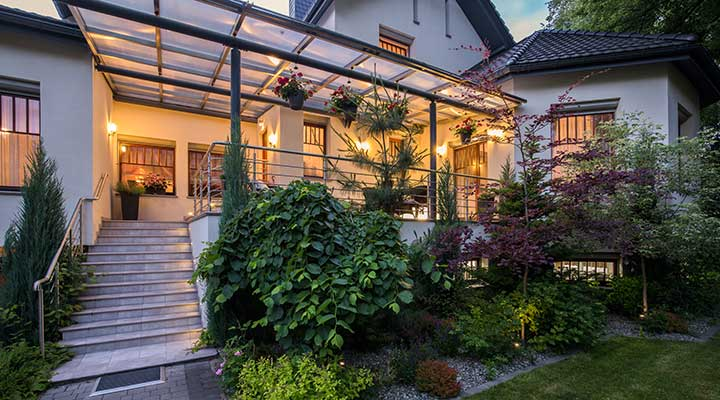 front yard attached pergola shade structure