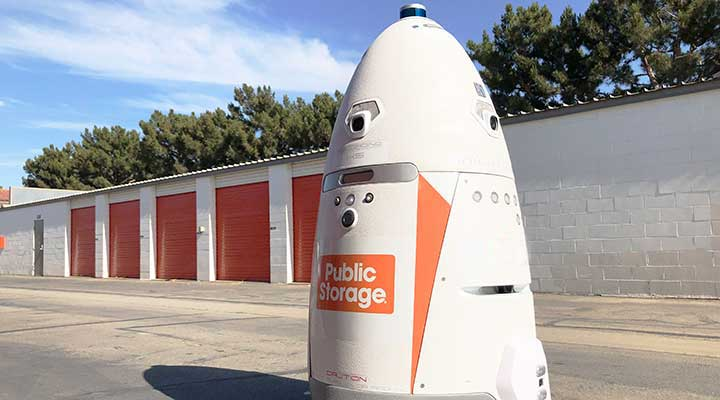 public storage security robot zooms down the property