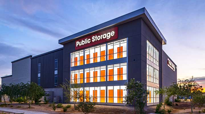 Exterior building view of Public Storage Advantage at dusk which helps bring more storage units near you