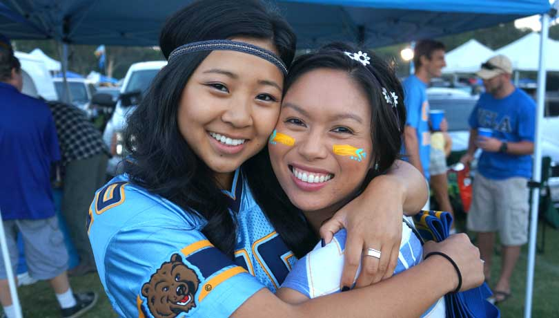 Author Sydney Fong with her sorority sister Allyson Bach at a UCLA Rose Bowl tailgate