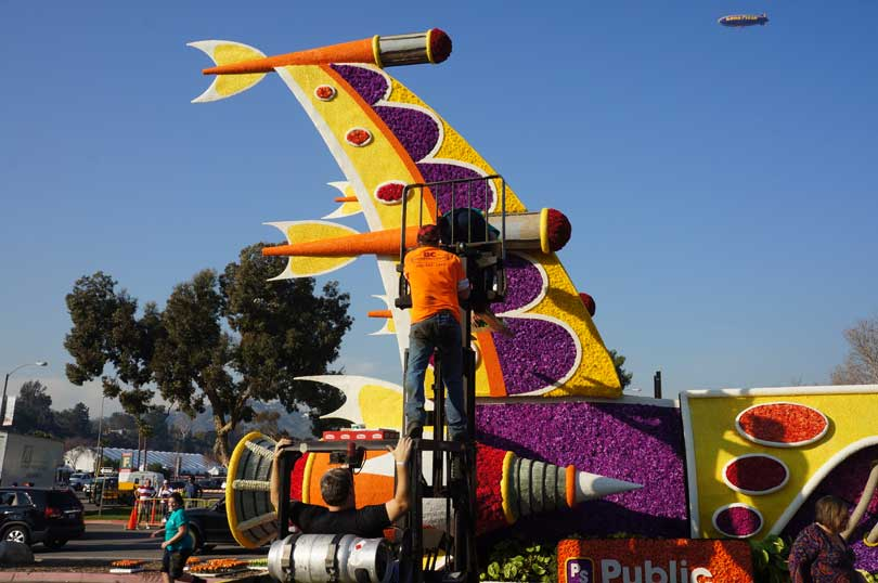 final work on the Public Storage Rose Parade float