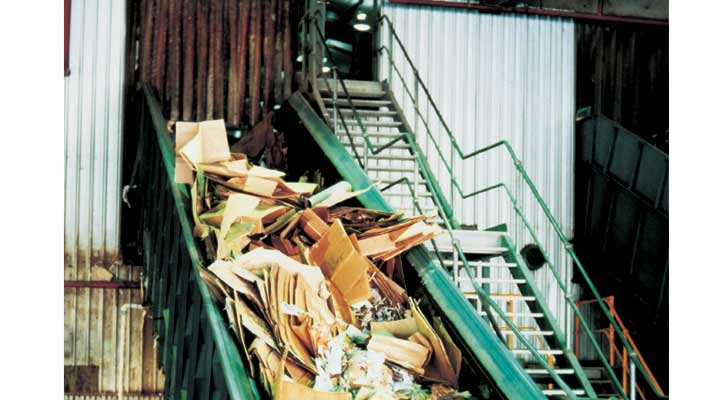 recycled paper on conveyors