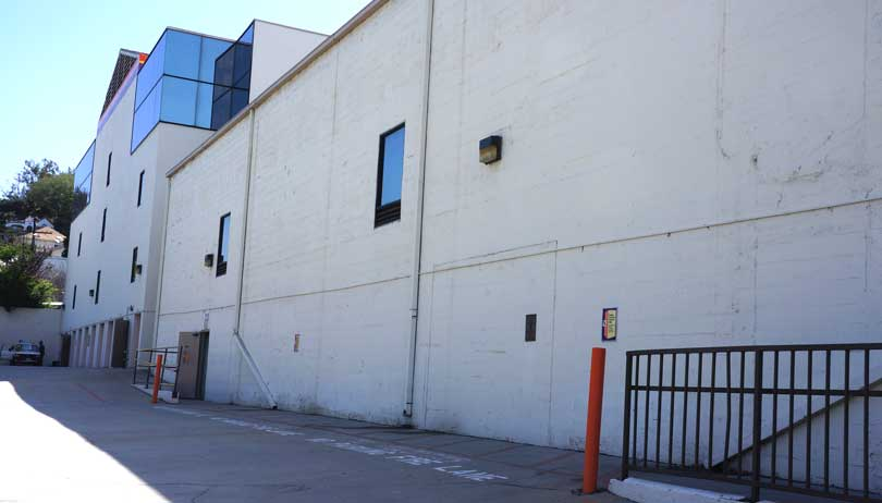 exterior of Public Storage building in the Silverlake area of Los Angeles