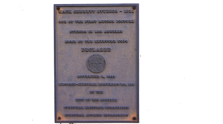 plaque dedicates Mack Sennett studio