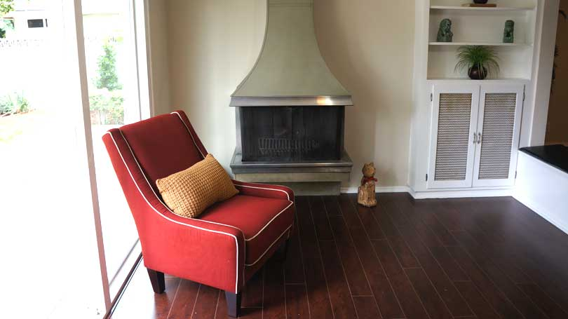 A family room staged to sell