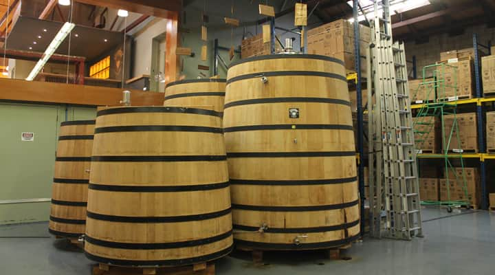 Whiskey barrels at Greenbar Distillery