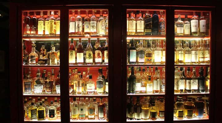 Whiskey in display case at Tam O'Shanter